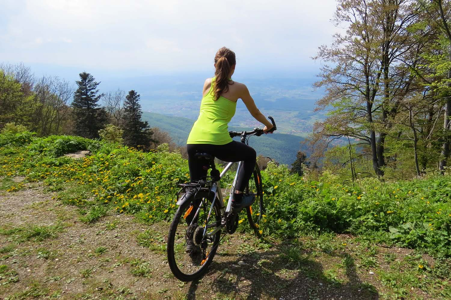 Mountain bike tour, Zagreb, Croatia, view from Sljeme peak
