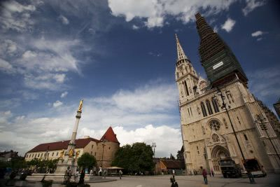 Zagreb cathedral beginning of biking