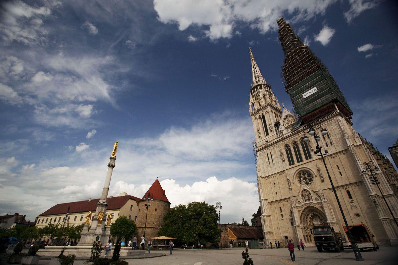 Zagreb cathedral, bike tour, Croatia